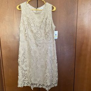 Beige by ECI Lace Overlay Dress Nude 14 NWT